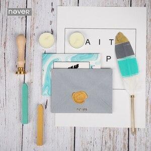 Image 2 - Nooit Lichtblauw Briefpapier Set Lakzegel Sets Kaart Enveloppen Veer Pennen Kit Gift Briefpapier Sets School En Kantoorbenodigdheden