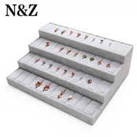 N&Z Big 4 Layers Ring Display Stand Holder Jewelry Organizer Earrings Ring Box /Case For Jewlery Gift Box Jewelry Box Trays