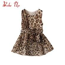 цена на Toddler Girl Summer Chiffon Dress Sleeveless Kids Leopard Print Party Frocks Clothing Little Girl Fashion Dress Asymmetrical Hem