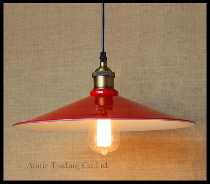 AC100-240V D36cm Vintage Iron Pendant Light Industrial Lighting Red lid lampshade Pendant Lamp Hanging  E27 Bar Cafe Restaurant high quality ac 360 415v 16a ie 0140 4p e free hanging industrial plug red white