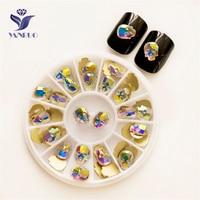 YANRUO 2570NoHF AB Skull 6*8 8*10mm Luxury Crystals Non Hotfix Strass Flatback Rhinestones Nails Charms