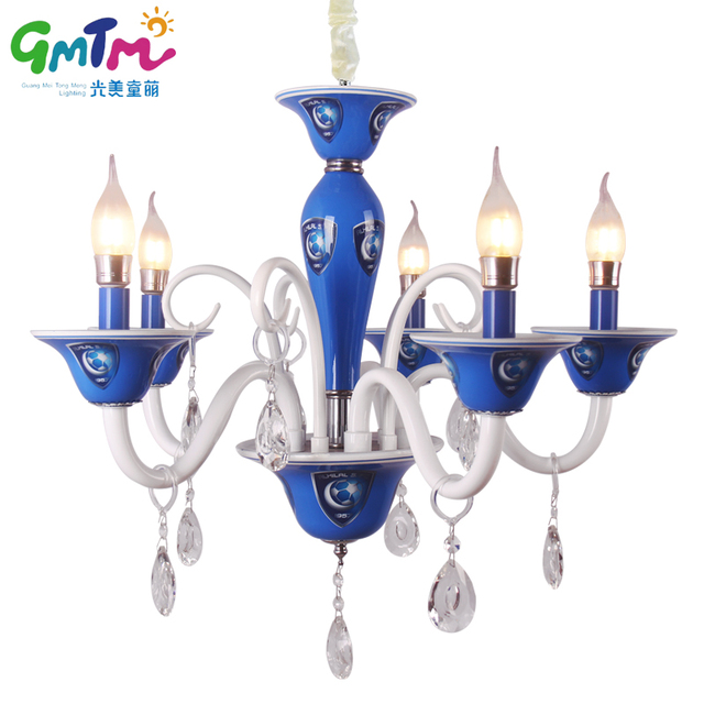 2017 Most Por K9 Crystal Blue Soccer Chandelier Re Chandeliers Creative Football Gl Boy Bedroom