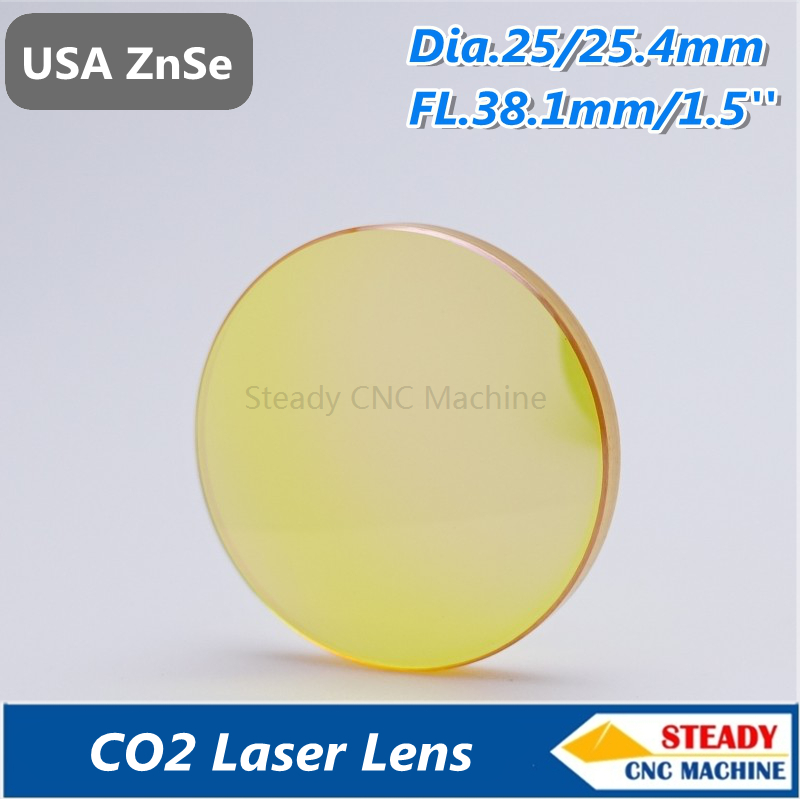 top quality USA ZnSe CO2 laser lens 25.4mm diameter 38.1mm focus length for laser engraver top quality usa znse co2 laser lens 25mm dia 101 6 focus length for laser cutting machine free ship