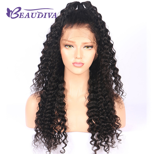 BEAUDIVA Human Hair Wigs For Black Women Color 1B Brazilian Remy Lace Front  Wig Deep Wave Pre Plucked With Baby Hair 629289b70