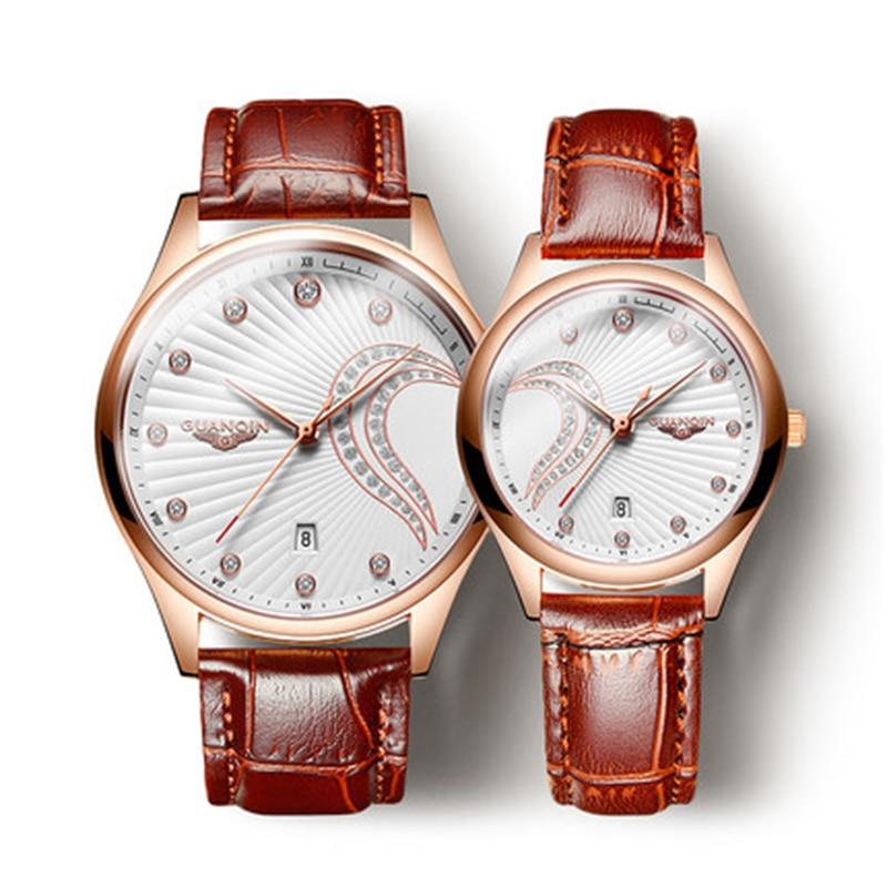 GUANQIN 2019 Genuine Creative Watch Women leather Waterproof Watch Set Super Slim Mesh Belt Clock Ladies Watch Relogio Feminino