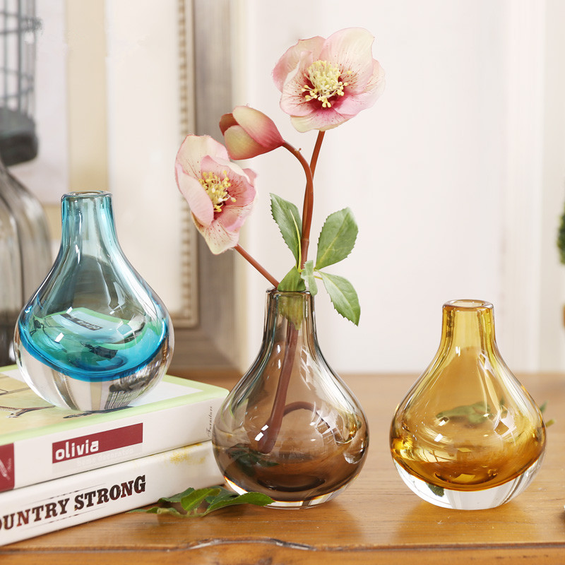 Hand Blown Art Solid Color Glass Bud Vase, Gift Box, Plain thickening nordic brief glass vase fashion home decoration