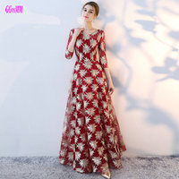 Gorgeous Colorful Lace Long Evening Dresses 2018 Sexy Party Evening Gowns O Neck Tulle Lace Up A Line Formal Dress Fast delivery