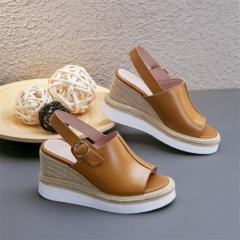 Peep Schuhe gelb Mode Weiß Schnalle Plateau High Nähen Stroh Sandalen Toe Heels Lässig Frauen Msstor Sommer Leder Weiß Echtem x6OYqTUwx