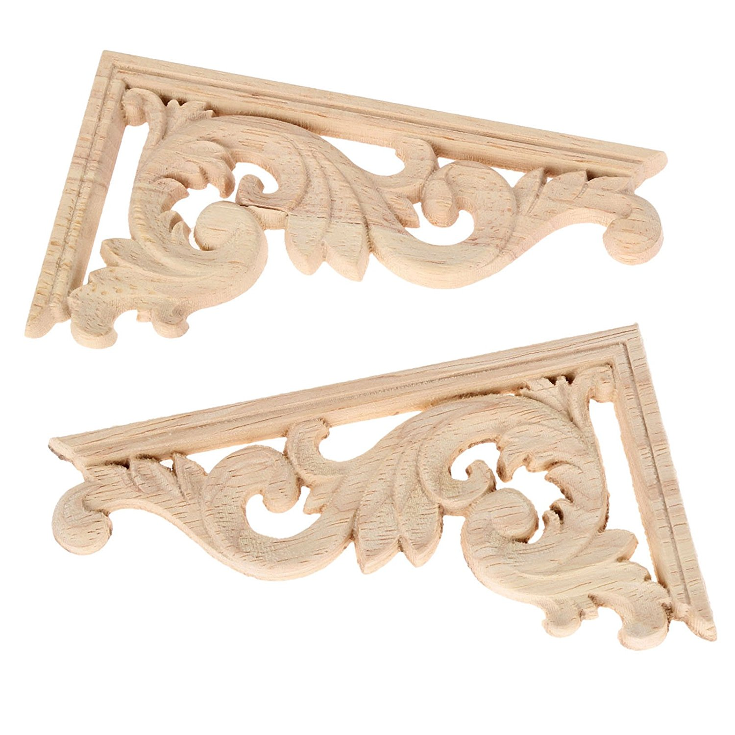 HOT SALE 2pcs Left+right(each 1pcs) Vintage Wooden Carved Corner Onlay Furniture Wall Decor Unpainted Frame Applique