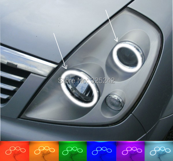 ФОТО For Ssangyong Rexton 2003-2005 Excellent Angel Eyes kit Multi-Color Ultra bright RGB LED Angel Eyes Halo Rings