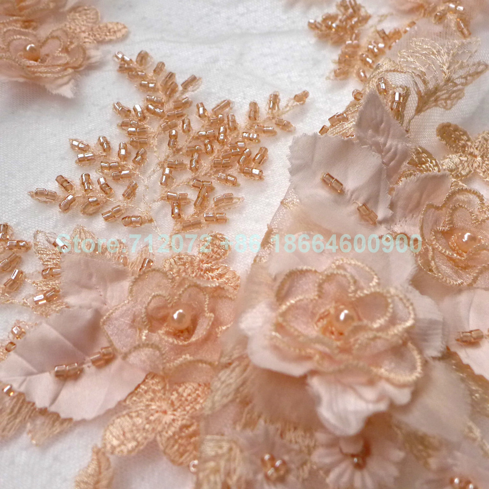 1 yard New off white/nude/light gree/ pink  3D flowers embroidered heavy beaded wedding/evening/show dress lace fabric by yard1 yard New off white/nude/light gree/ pink  3D flowers embroidered heavy beaded wedding/evening/show dress lace fabric by yard