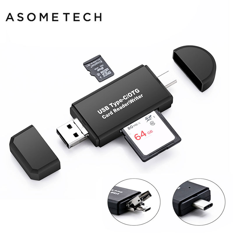 3 In 1 Type C/Micro USB/USB OTG Card Reader High-speed USB 2.0 Universal OTG TF/SD For Macbook Computer Android Extension Header