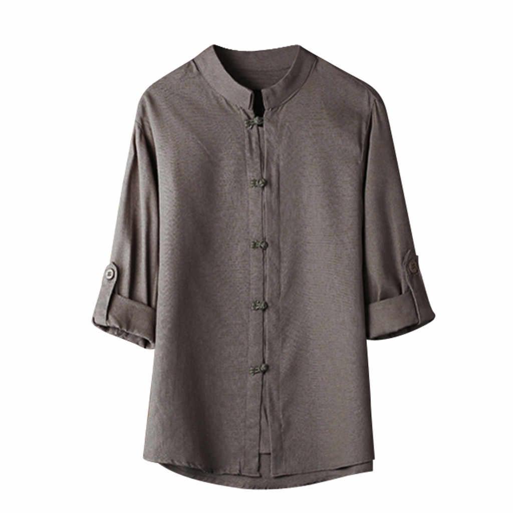 ファッション大サイズメンズアロハシャツ男性古典的な中国風のカンフーシャツトップス唐装 3/4 袖リネンブラウス