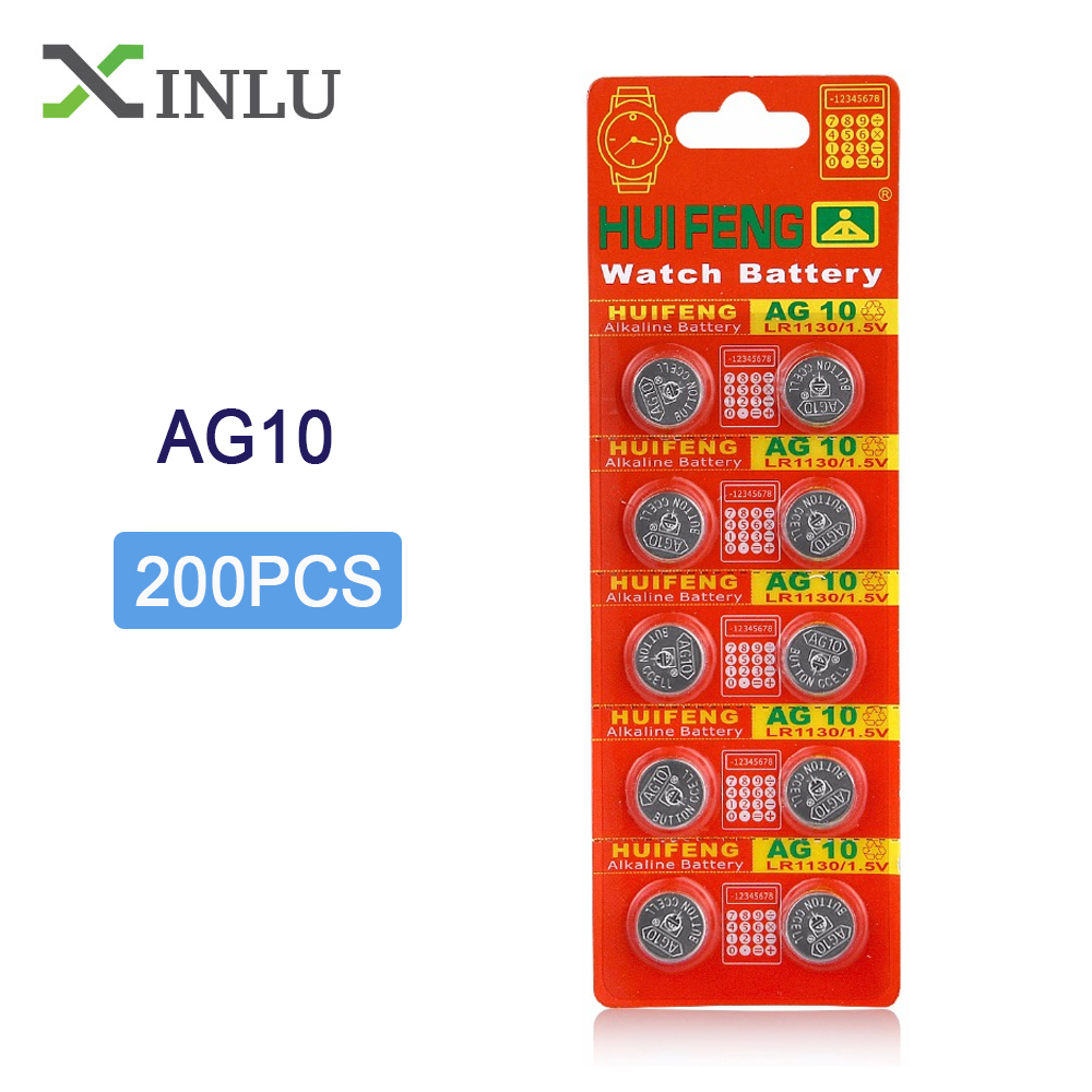 200pcs/lot <font><b>AG10</b></font> <font><b>1.5V</b></font> LR1130 SR1130 LR54 SR54 389 189 G10 Button Cell Coin <font><b>Battery</b></font> <font><b>AG10</b></font> lr1130 Button Cell <font><b>Battery</b></font> for Watch Toy image