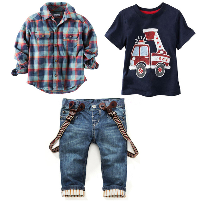 Boys Clothing Set 2016 Autumn Baby Boy's Plaid Shirt +T-Shirt+ Jeans 3Pcs Sets Kids Boy's Clothes suits Children's Clothing Sets