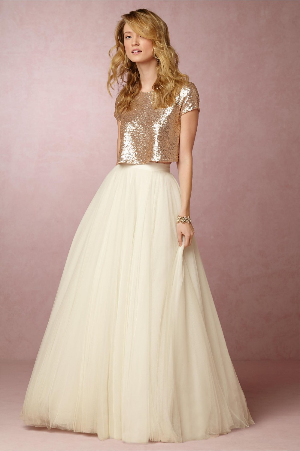 Popular 2 piece bridal gowns buy cheap 2 piece bridal for Wedding dress skirt and top