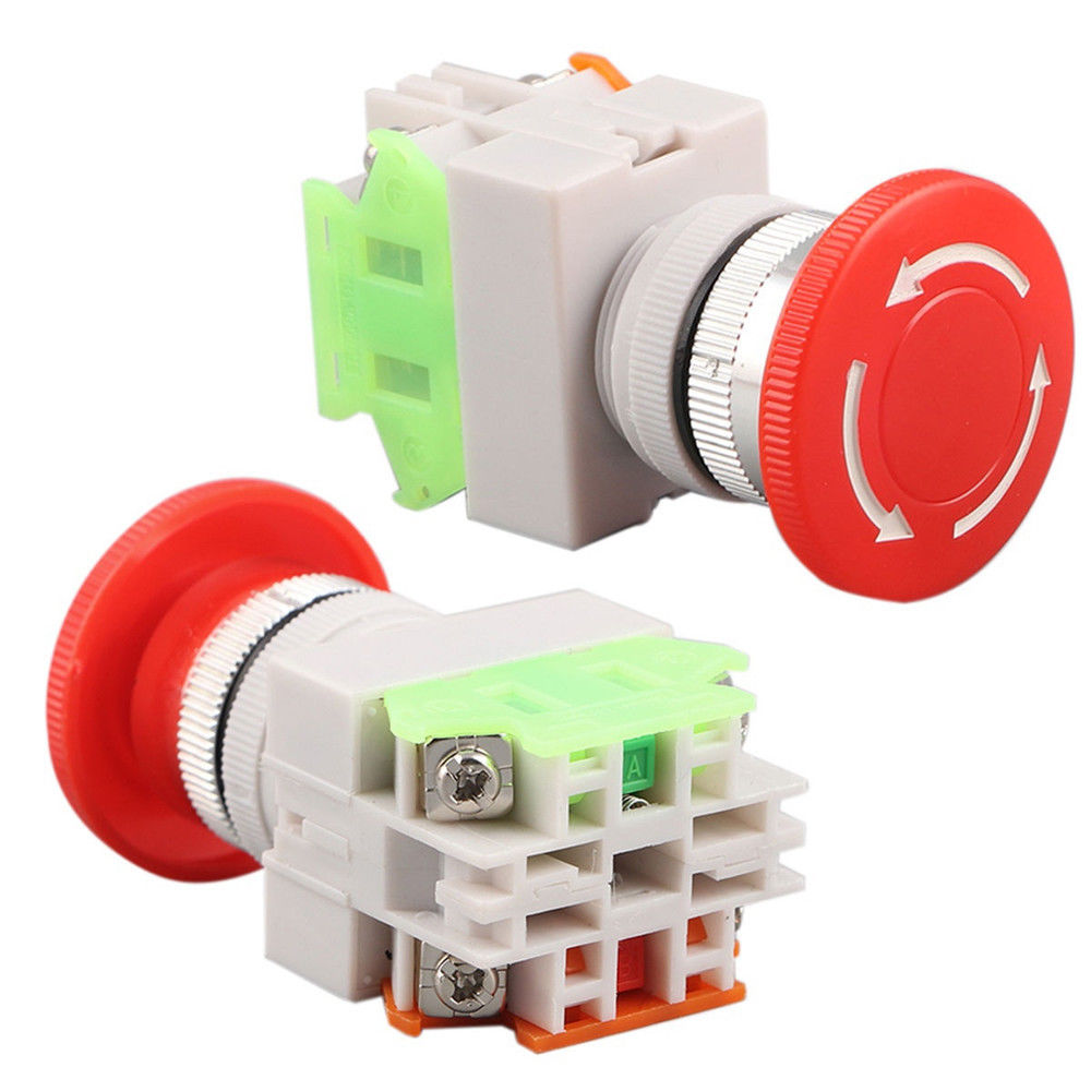 1Pcs Stop Switch Push Button Mushroom PushButton NO+NC 660V 10A LAY37-11ZS 1pc new emergency stop push button switch self locking red mushroom switch 660v 10a