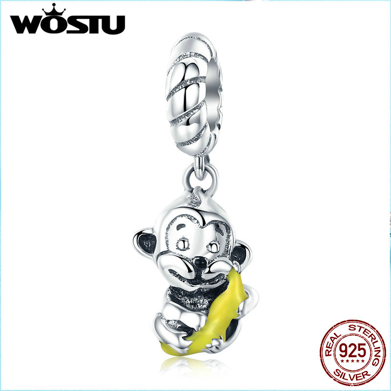 WOSTU Animal Collection 925 Sterling Silver Cute Monkey & Banana Love Charm fit Charm Bracelet Bangle DIY Jewelry CQC520WOSTU Animal Collection 925 Sterling Silver Cute Monkey & Banana Love Charm fit Charm Bracelet Bangle DIY Jewelry CQC520