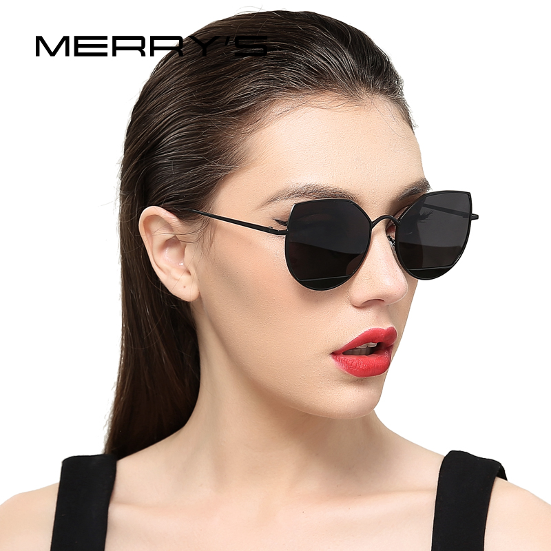 MERRYS 2019 New Arrival Women Classic Brand Designer Cat Eye Sunglasses Metal Frame S8108
