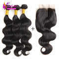 Indian Body Wave With Closure 4 Pcs/Lot Silk Lace Closure With Bundles 7A Unprocessed Virgin Human Hair Weave With Silk Closure