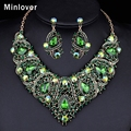 Minlover Champagne&Green Colors African Beads Jewelry Set Crystal Choker Necklace+Earrings for Women Gold Plated Jewelry TL407