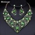 Minlover Champagne y Verde Colores Beads Africanos Joyería Set Crystal Choker Collar + Pendientes para Las Mujeres Joyería Plateada Oro TL407