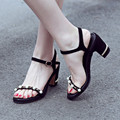 Women's Ankle Strap Sandals Open Toe Beading Fashion Summer Shoe Women Genuine Leather Med Heel Comfort Ladies Elegant Sandalias