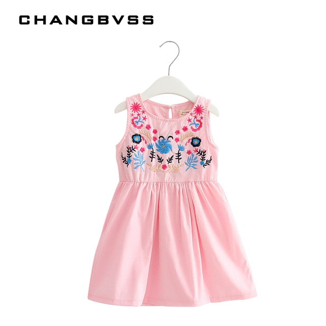 Retro Chinese Embroidery Design Girls Dress Simple Pink White Kids
