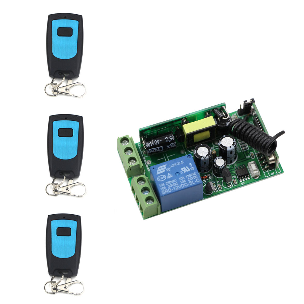 AC85V 110V 220V 230V Wireless Remote Control light switch ON/OFF 1 Channal relay switch with 3PCS transmitter 315Mhz/433Mhz rovertime rovertime rtm 85