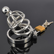 Stainless steel chastity device male cage toy penis plug Urethral plug sound belt sex toy