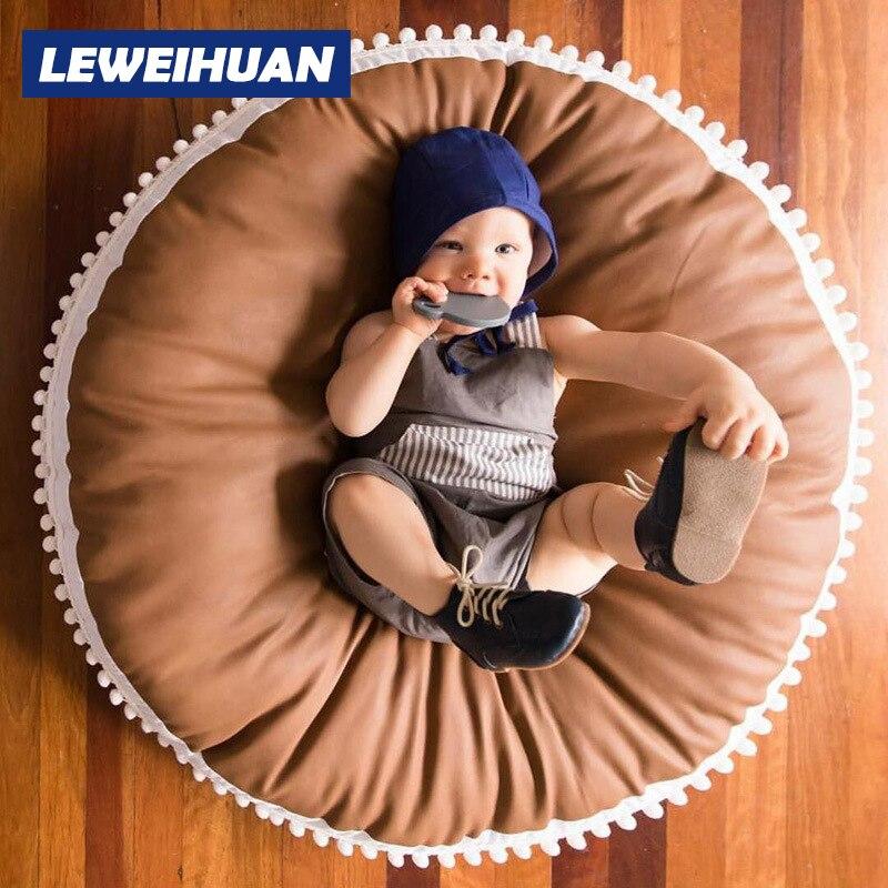Nouveau 90 CM coton doux épaissir bébé Playmats enfants tapis tapis de sol tapis tapis de jeu bébé activité tapis de jeu Style nordique