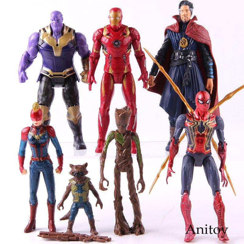 Marvel Avengers Captain Marvel Captain America Spider Man Dr Strange Rocket Raccoon Figure Collectible Model Toy 5-7pcs/set