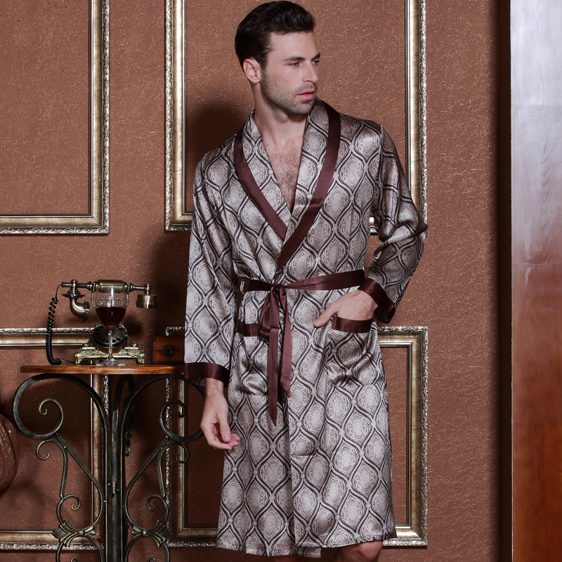 High Quality Autumn 2019 New Men Silk Long-Sleeve Male Kimono Sleepwear 100% Silk Robe Silk Robe Loungewear Clothes
