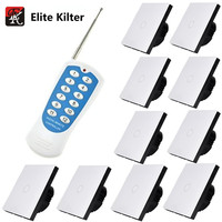 Elite Kilter Wall Lights Touch Switch 1 Gang 10 Ways Luxury Crystal Glass Switch Panel Single FireWire EU/UK Standard