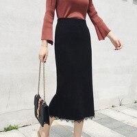 Chic Women Pencil Skirts Sping Autumn Winter Elegant High Waist Lace Midi Knit Skirt Female Vintage Black OL Pencil Skirt NEW