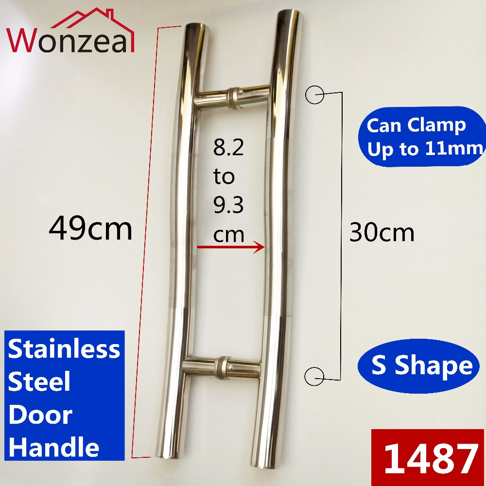 Wonzeal Furniture Stainless steel Glass door handle H shape bathroom shower Room Glass door handle Can Clamp Up to 11mm