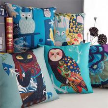 Идиллической деревни Сова подушки, повезло Кошка Подушка подушки, белье наволочки, главная декоративные Подушки