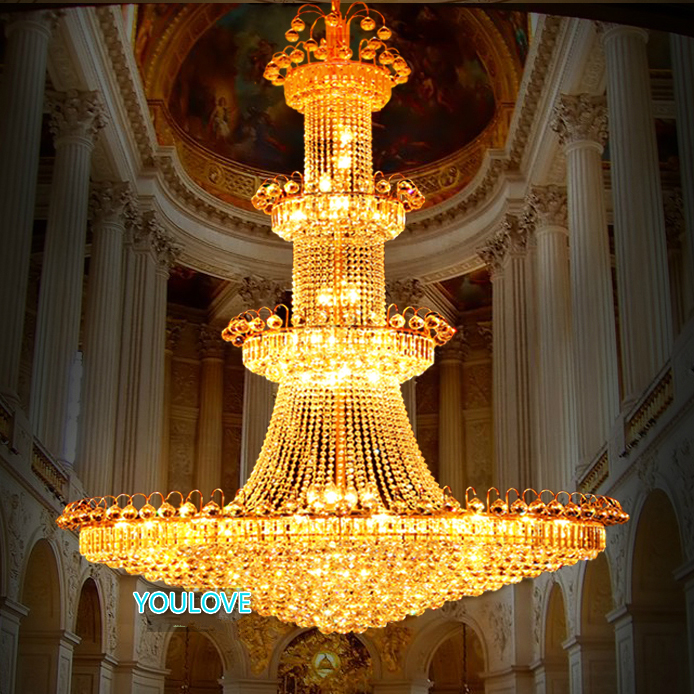 Modern Golden Crystal Chandeliers Lights Fixture American Big Gold Crystal Droplight Home Indoor Parlor Lighting  D120cm*180cm led lamp creative lights fabric lampshade painting chandelier iron vintage chandeliers american style indoor lighting fixture