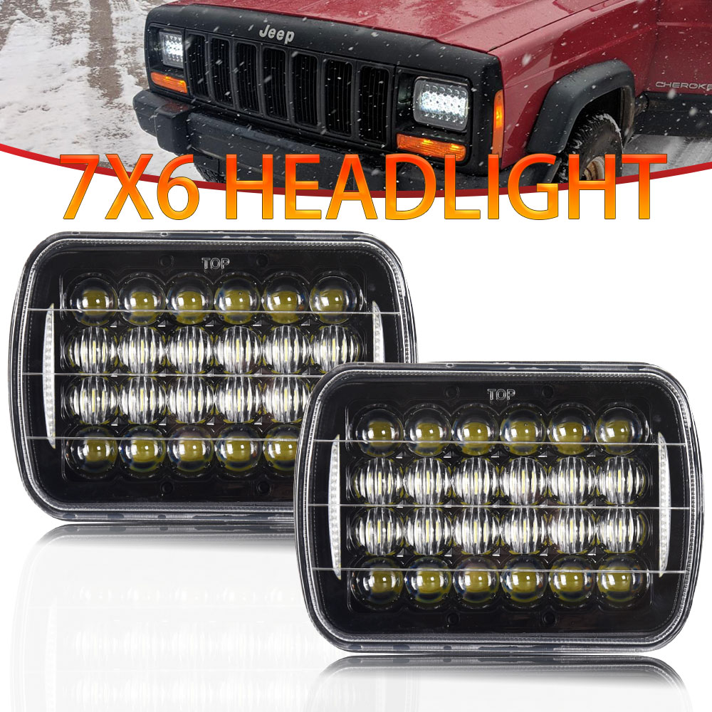 2pcs 5D 5X7inch 85W Led <font><b>Headlight</b></font> 7x6 12V Hi-Lo DRL for Jeep Wrangler YJ XJ Truck FLD 50 60 70 80 Firebird Celica <font><b>240SX</b></font> GMC image