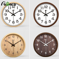 Wall Clock Wooden Vintage Non ticking Number Wall Clock 12inch Quartz Silent Sweep Wall Clock Decorative Indoor/Kitchen
