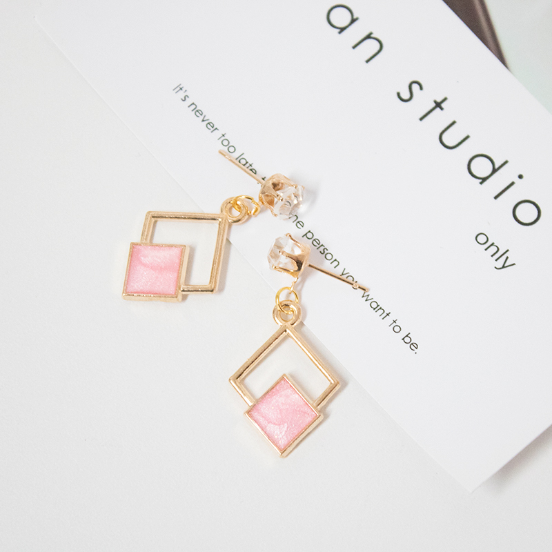 2019 New Fashion Hollow Geometric Quadrilateral Dangling Long Statement Drop Earrings For Women Crystal Jewelry Wholesale