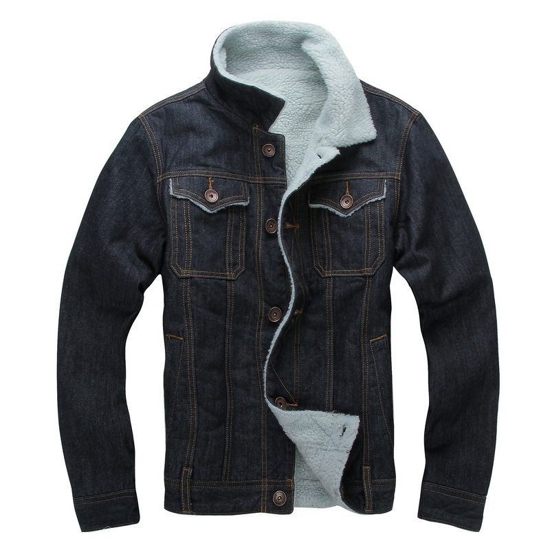 0178b0fe622 Autumn Winter dark blue fashion men s denim jacket with wool turn down  collar Lining thicken jacket male-in Jackets from Men s Clothing on  Aliexpress.com ...