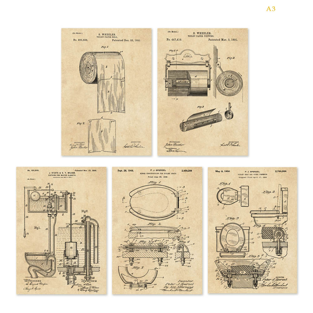 Vintage patent art on toilet paper or paper fixture toilet seat and ...