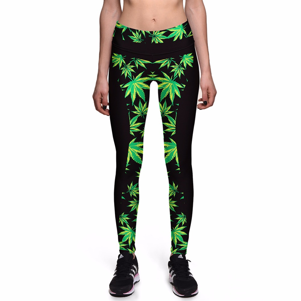 Summer new hot fashion personality leaf pattern high waist leggings printing casual sexy stovepipe female nine points leggings