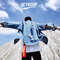 Hot Sale jean jacket for men Fashion Hip-Hop pablo jacket kanye DENIM Jacket 424 broken hole Cotton Turn-down Collar Men Jacket