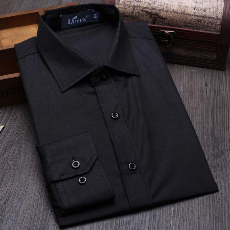 UUYUK Men Long Sleeve Casual Regular Fit Lapel Plaid Print Button Down Dress Shirt