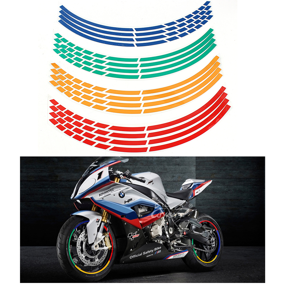 16 Strips Reflective Wheel Rim Sticker Decal Motorcycle Accessories 7 Colors Car Styling 17 or 18 inch Tape Car Stickers new arrival the avengers wry neck car sticker cartoon reflective car styling sticker motorcycle car decal accessories