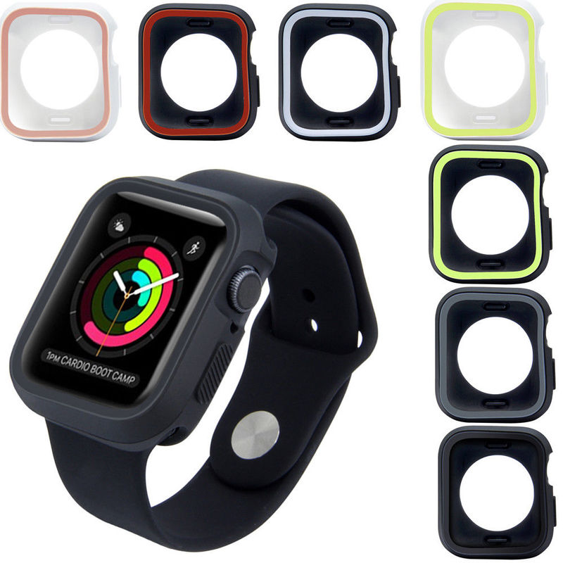 Dual Colors Soft Silicone Case Bumper For Apple Watch iWatch Series 1 2 3 4 Cover Frame Protection case 44mm 40mm 42mm 38mm цвета apple watch 4