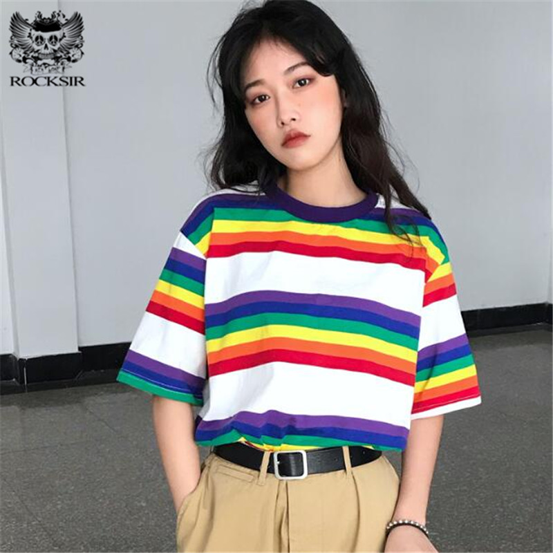 Rocksir Summer Harajuku Rainbow Striped T-shirt For Women Korean Ulzzang Short Sleeve Tshirt Female Casual Streetwear Loose Tops