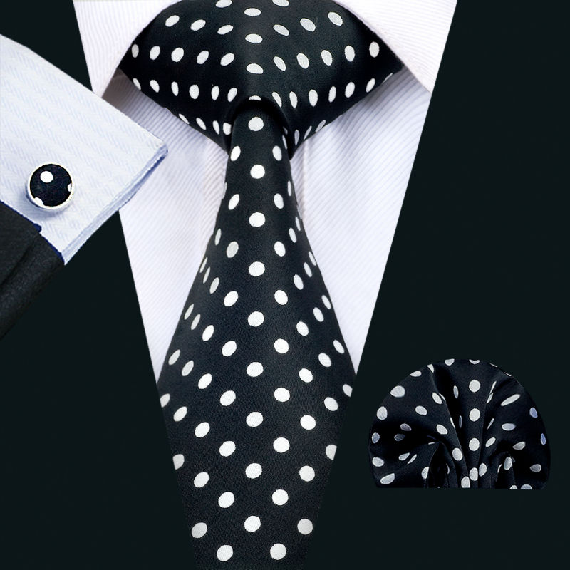 LS-1459 Barry.Wang Classic Men`s Tie 100% Black Polka Dot Silk Necktie Hanky Cufflink Set For Men`s Wedding Party Business